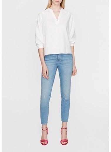 Mavi  Keten Bluz Beyaz